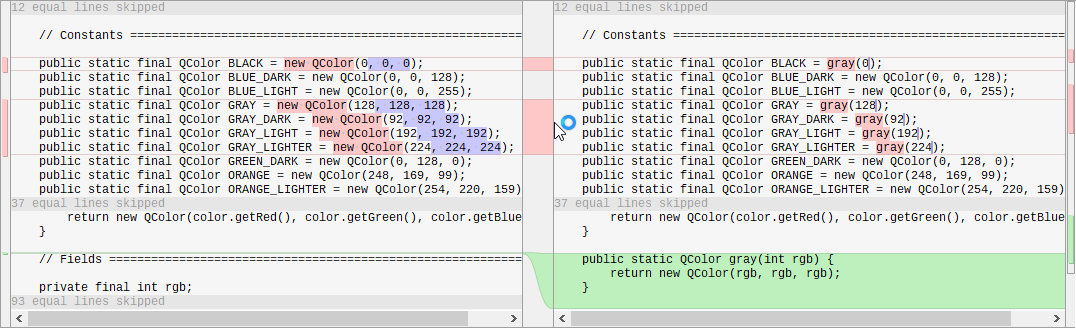 Allow to collapse unchanged blocks of code in diff view